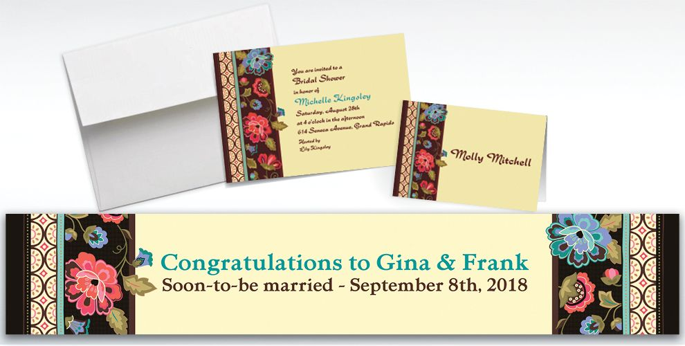 Custom Elegant Jacquard Invitations and Thank You Notes