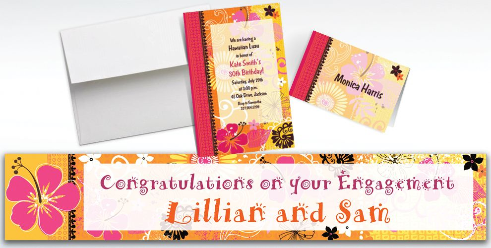 Custom Tropical Heat Invitations and Thank You Notes