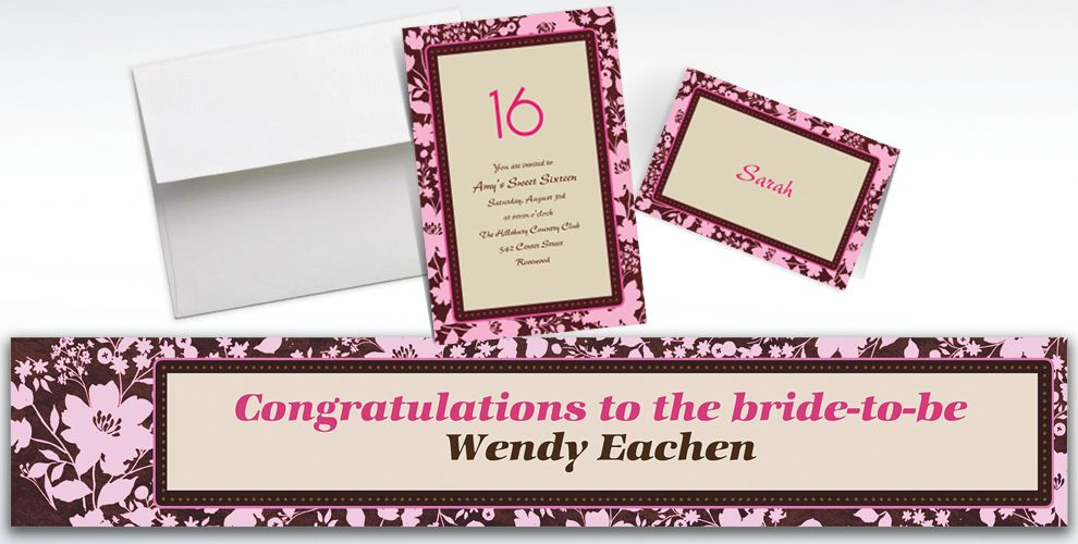 Custom Cocoa Floral Pink Invitations and Thank You Notes