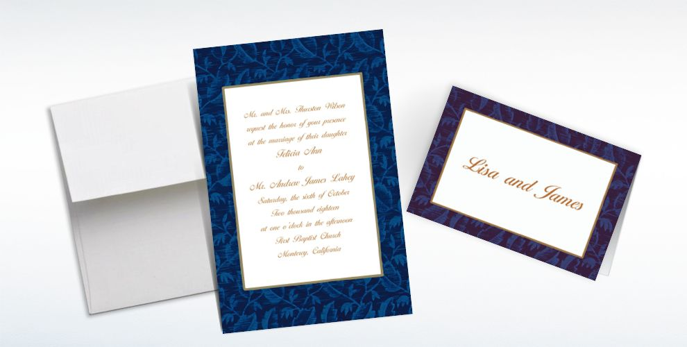 Custom Blue Damask Invitations and Thank You Notes