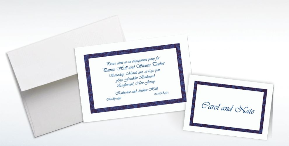 Custom Narrow Navy Damask Invitations and Thank You Notes