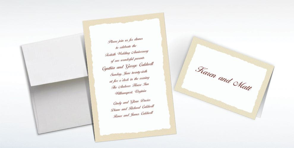 Custom Taupe Deckle Edge Invitations and Thank You Notes