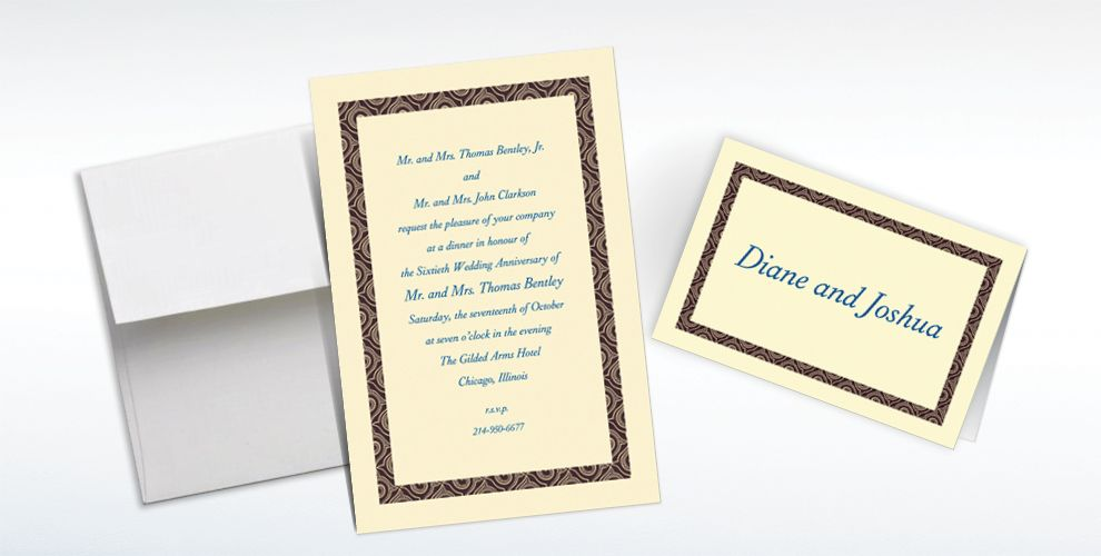 Custom Black Moroccan Border Ecru Invitations and Thank You Notes