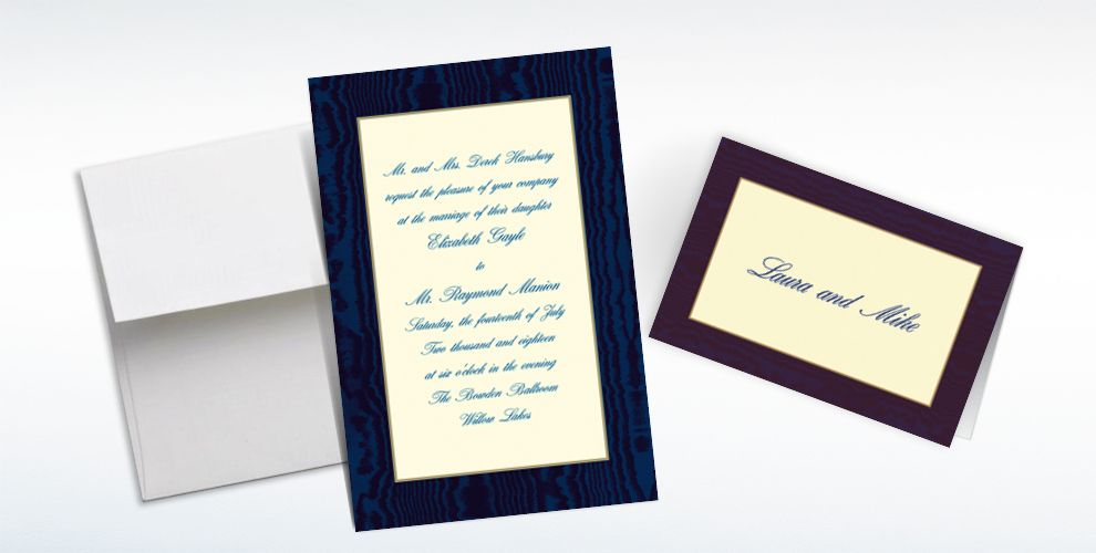Custom Navy Moire and Ecru Invitations and Thank You Notes