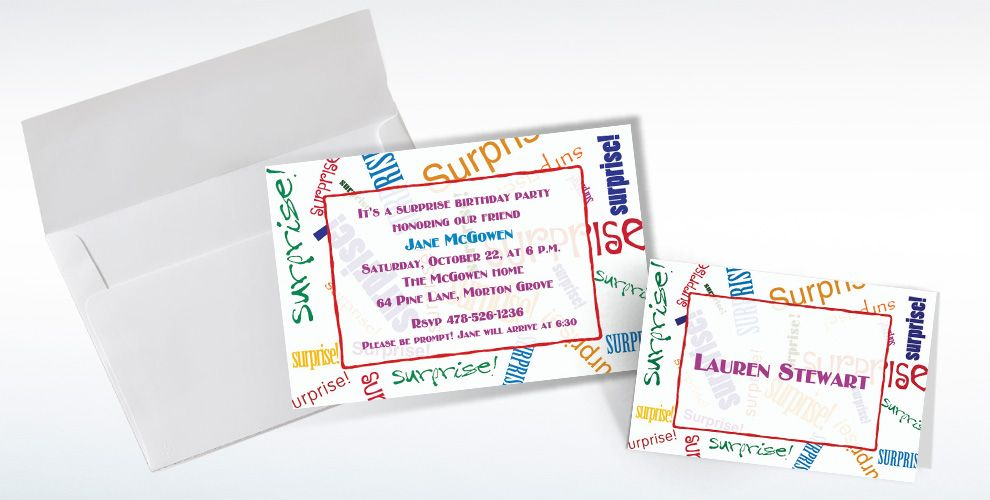 Custom Surprise Fonts Invitations and Thank You Notes