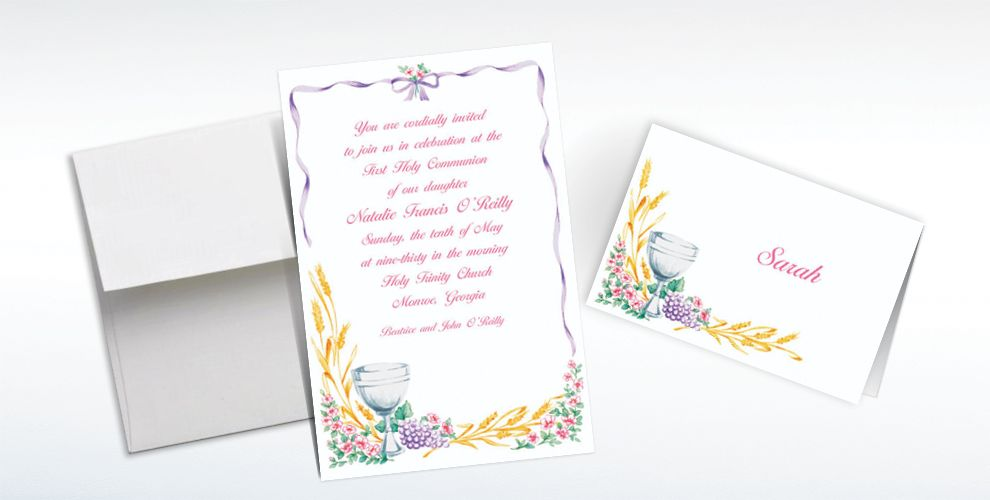Custom Communion with Flowers Invitations and Thank You Notes