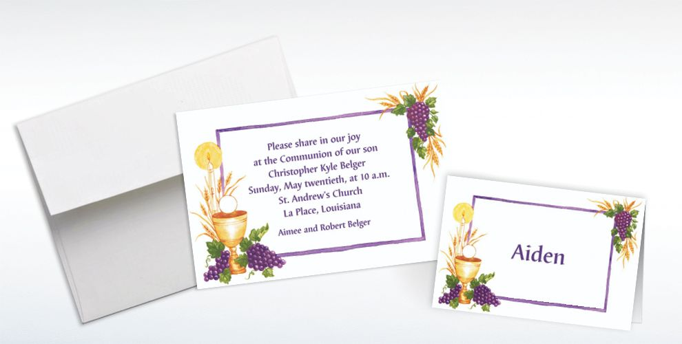 Custom Communion with Grapes Invitations and Thank You Notes