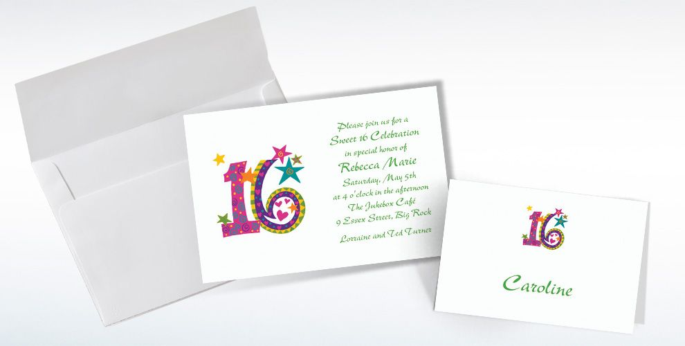 Custom Colorful Sweet 16 Invitations and Thank You Notes