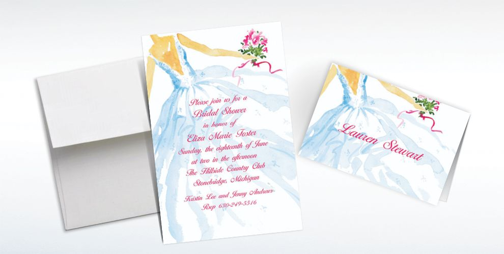 Custom Fashion Bridal Gown Wedding Invitations and Thank You Notes