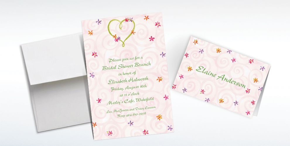 Custom Heart with Flowers Wedding Invitations and Thank You Notes