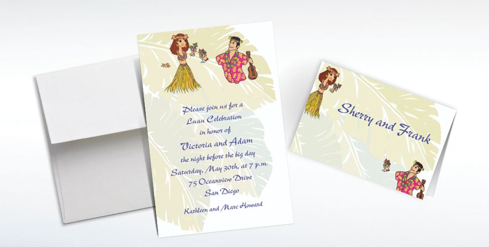 Custom Luau Couple Wedding Invitations and Thank You Notes