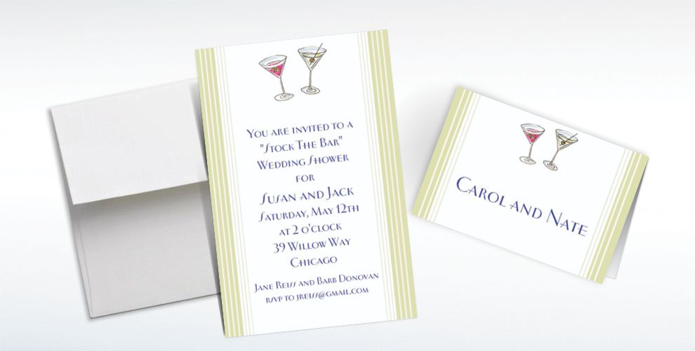 Custom His and Hers Cocktails Wedding Invitations and Thank You Notes