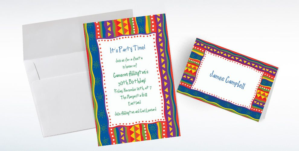 Custom Fiesta Stripes Invitations and Thank You Notes