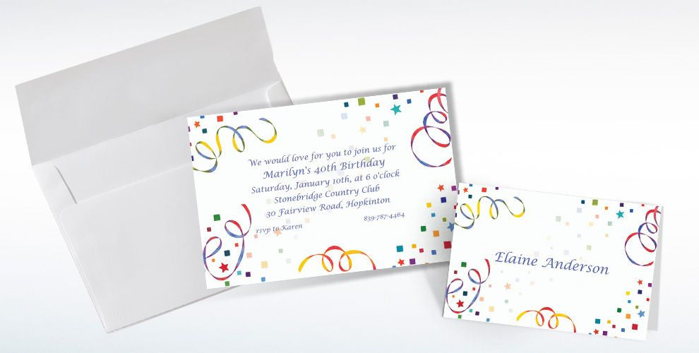 Custom Confetti and Streamers Invitations and Thank You Notes