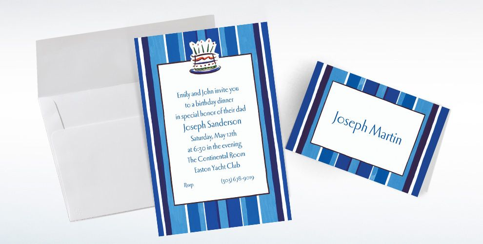 Custom Handsome Cake Birthday Invitations and Thank You Notes
