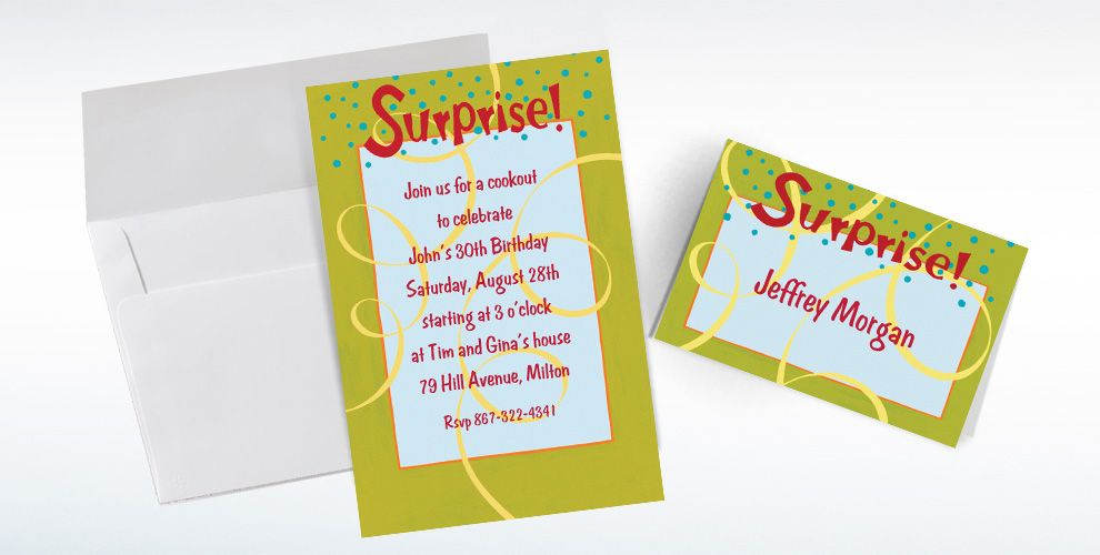 Custom Surprise with Spirals Invitations and Thank You Notes