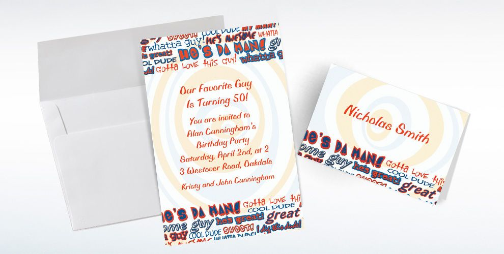 Custom He's da Man! Invitations and Thank You Notes