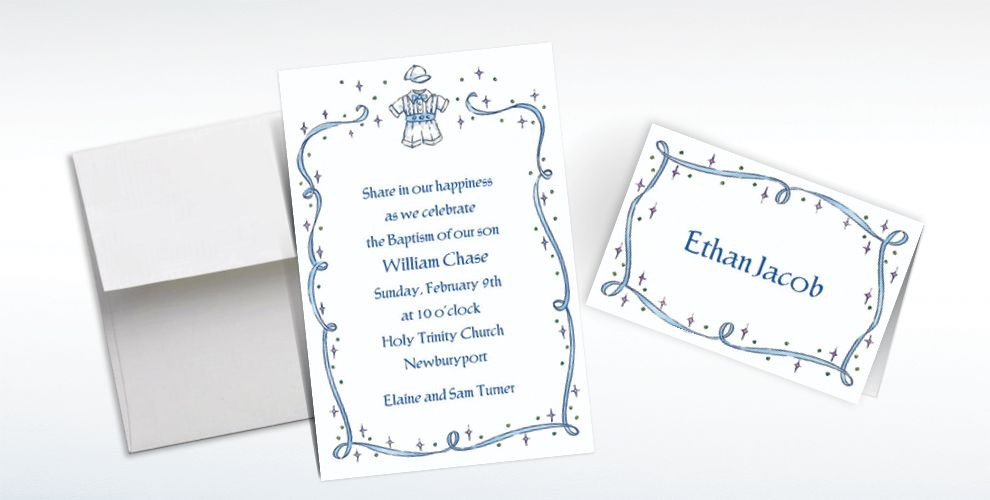 Custom Christening Suit with Blue Ribbon Invitations and Thank You Notes