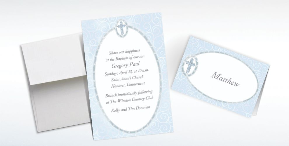 Custom Blue Cross with Filigree Invitations and Thank You Notes