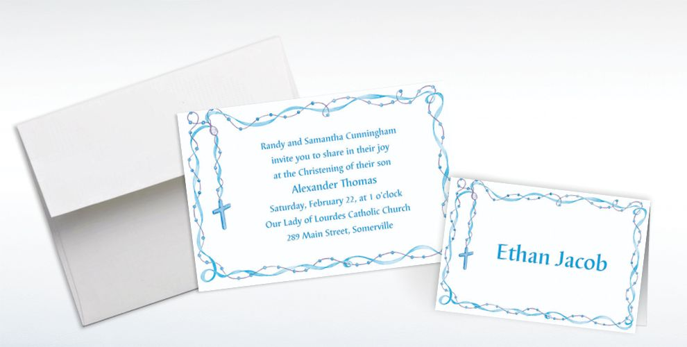Custom Rosary with Blue Ribbon Invitations and Thank You Notes