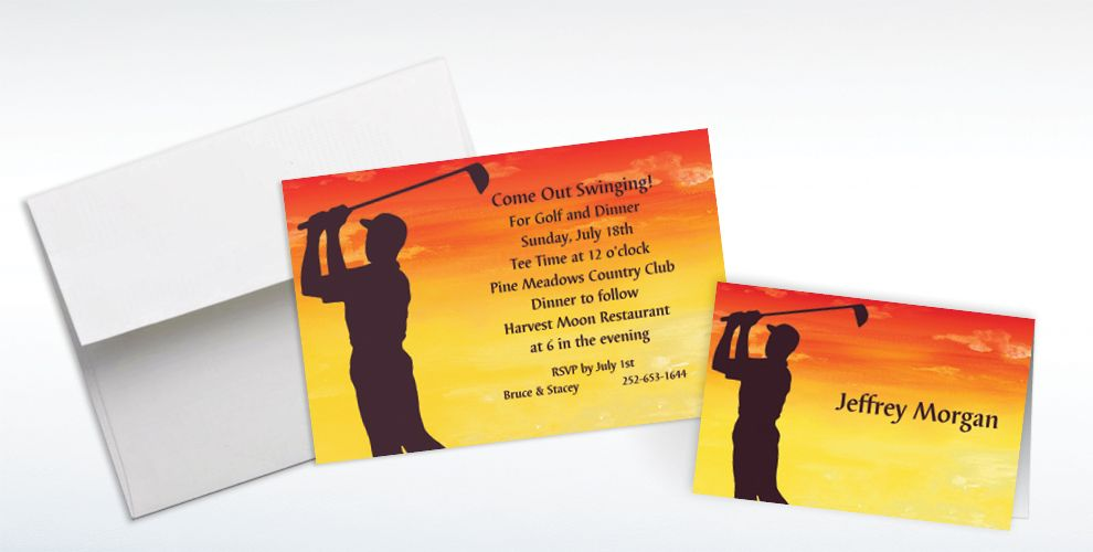 Custom Sunrise Golfer Invitations and Thank You Notes