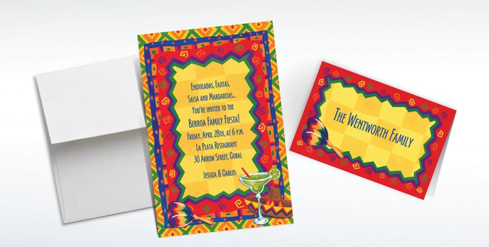 Custom Colorful Fiesta Invitations and Thank You Notes