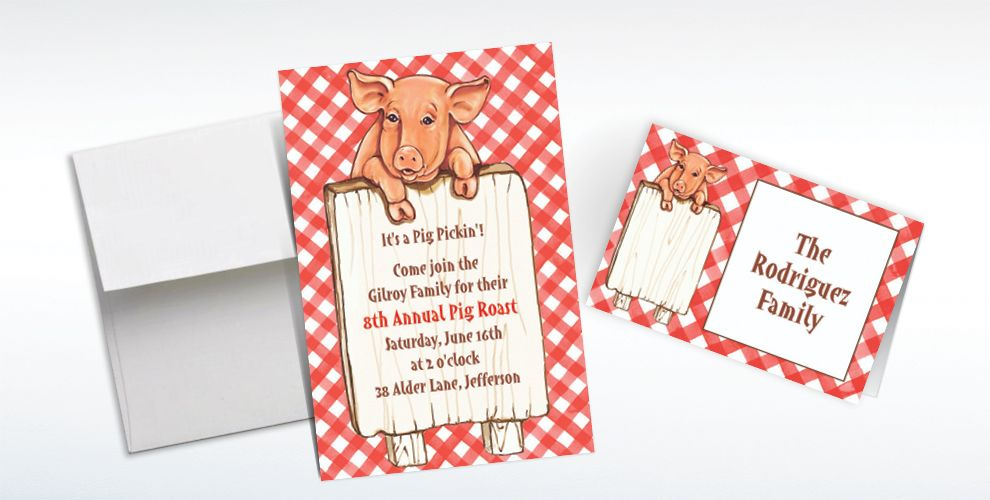 Custom Pig with Sign Invitations and Thank You Notes