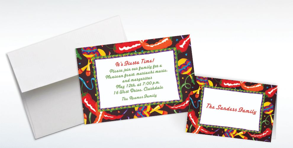 Custom Chilis and Maracas Invitations and Thank You Notes