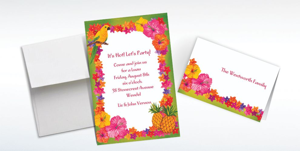 Custom Hawaiian Flower Border Invitations and Thank You Notes