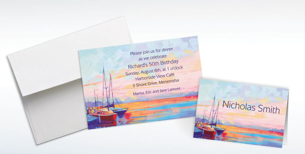 Custom Sailing at Sunset Invitations and Thank You Notes