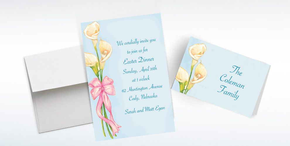 Custom Spring Lilies Invitations and Thank You Notes