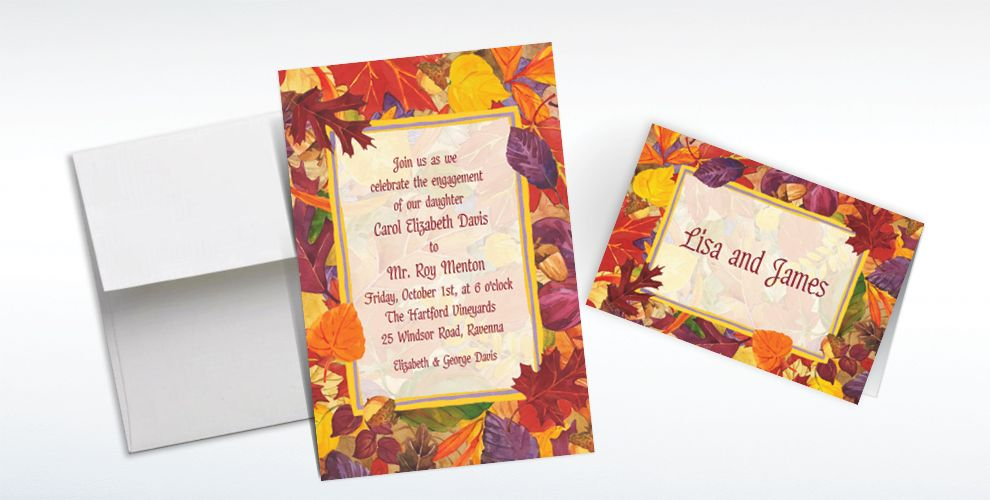 Custom Fallen Autumn Leaves Invitations and Thank You Notes