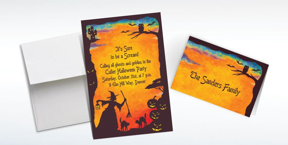 Custom Witchy Halloween Motif Invitations and Thank You Notes