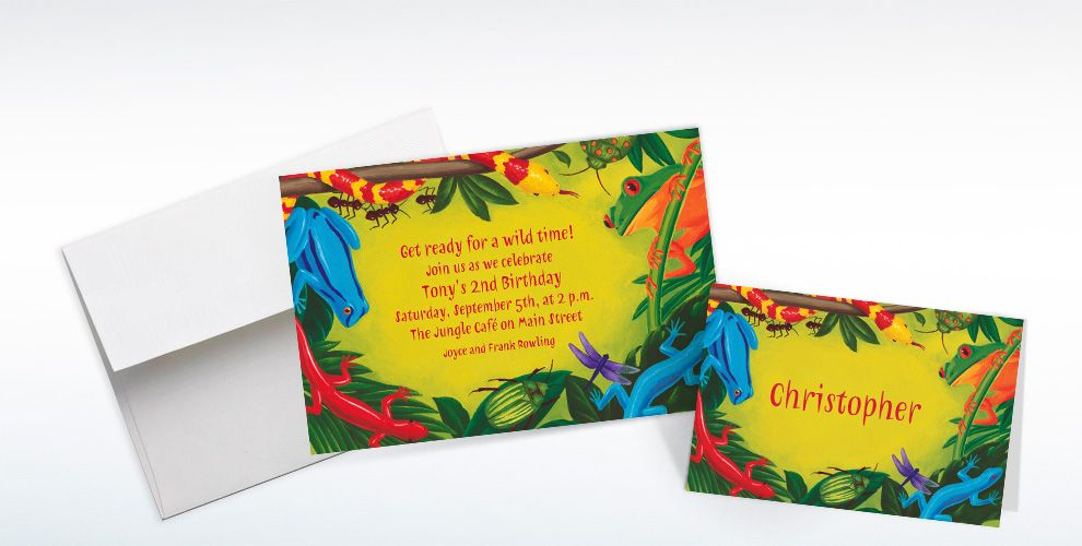 Custom Bugs and Reptiles Invitations and Thank You Notes