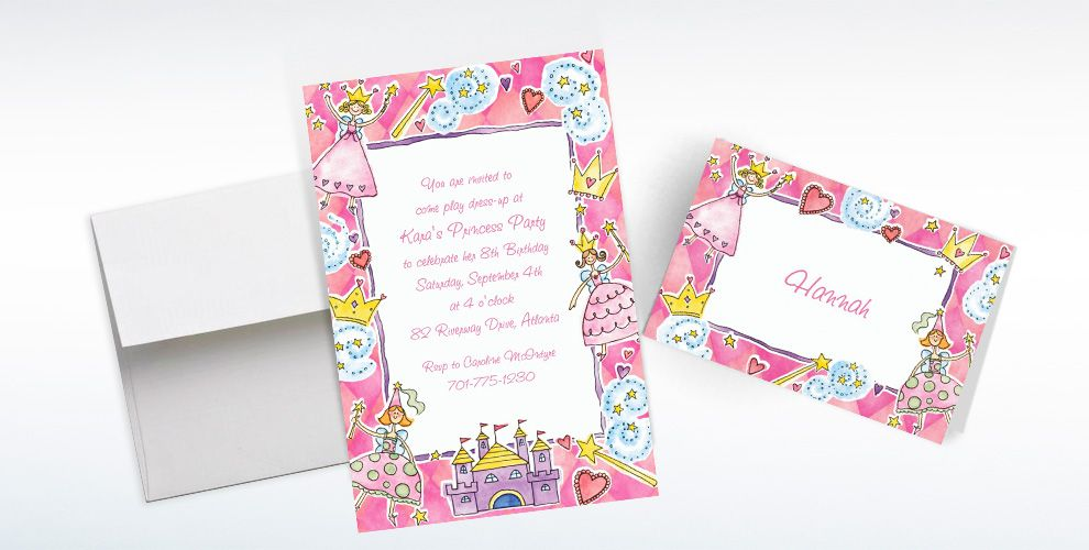 Custom Princess Party Invitations and Thank You Notes