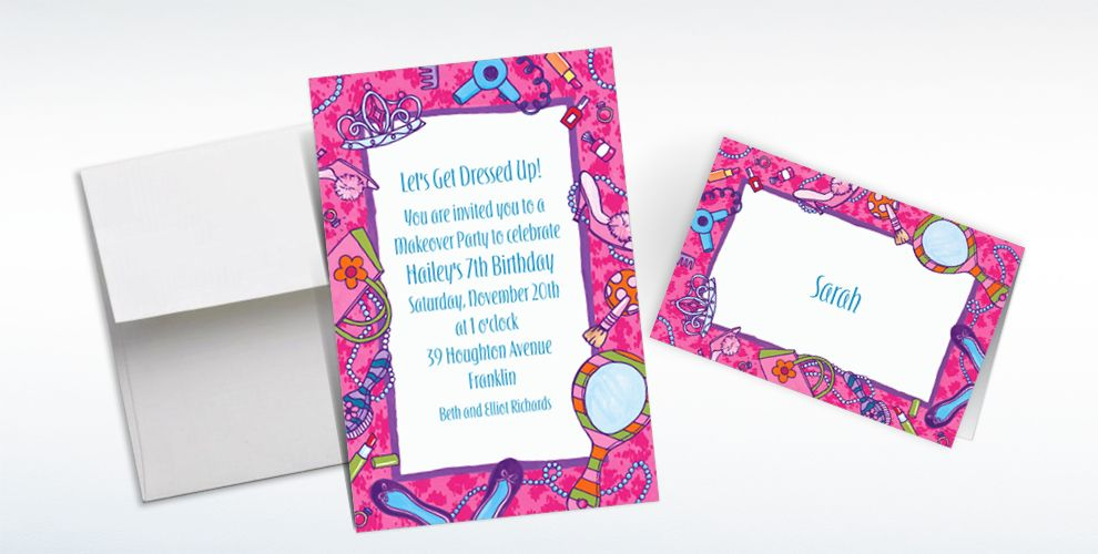 Custom Makeover Party Invitations and Thank You Notes