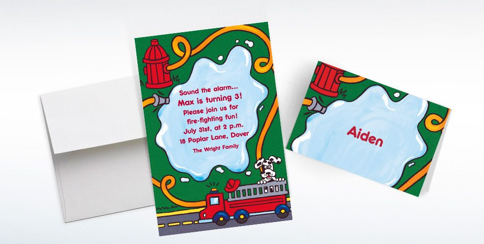 Custom Fire Truck and Hydrant Invitations and Thank You Notes