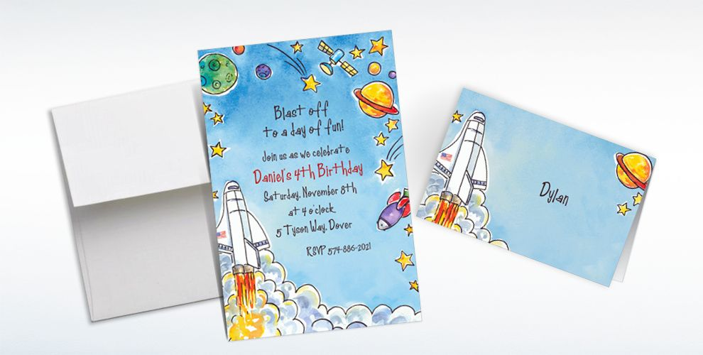 Custom Outerspace Adventure Invitations and Thank You Notes