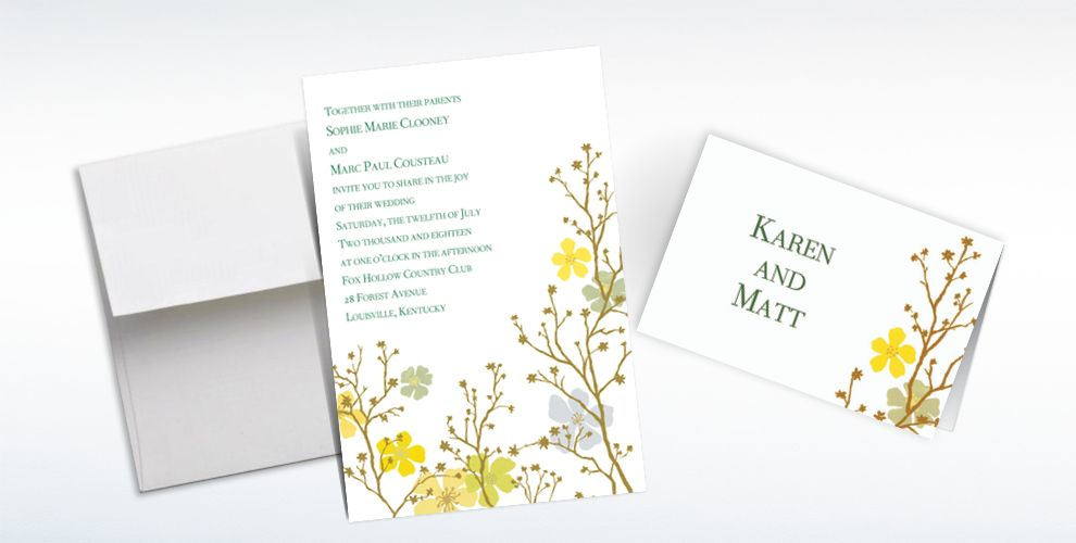 Custom Brilliant Blooms and Branches Invitations and Thank You Notes
