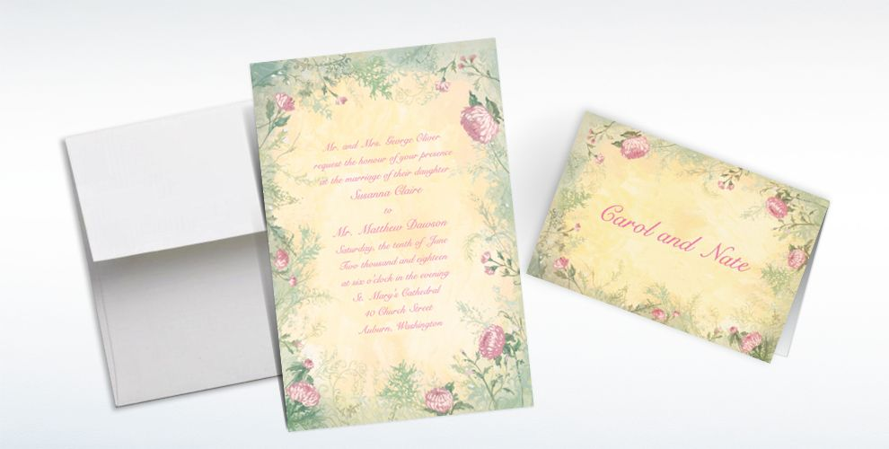 Custom Antique Foliage Invitations and Thank You Notes