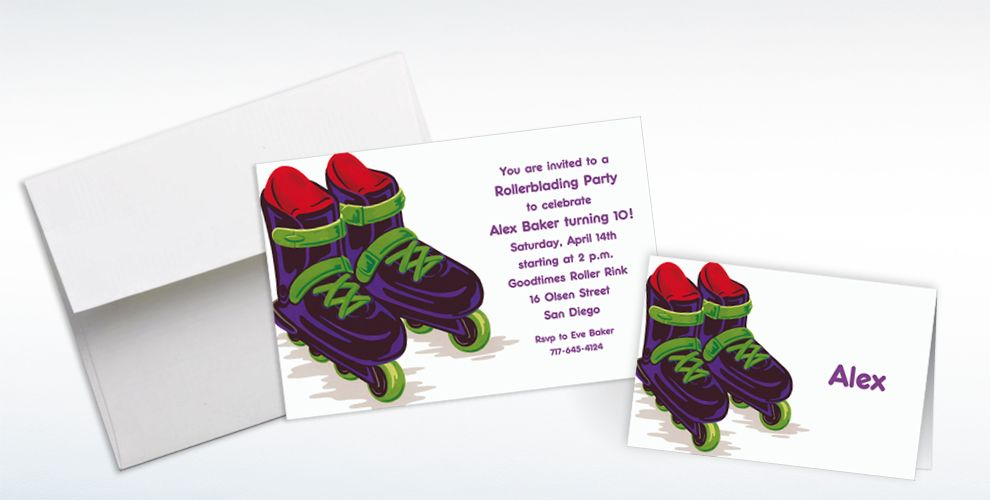 Custom Roller Blades Invitations and Thank You Notes