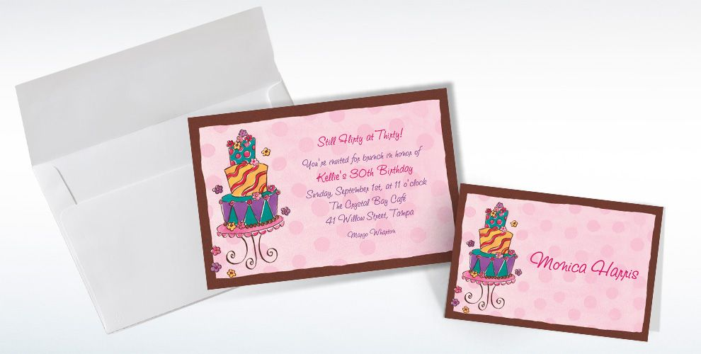 Custom Girly Cake Birthday Invitations and Thank You Notes