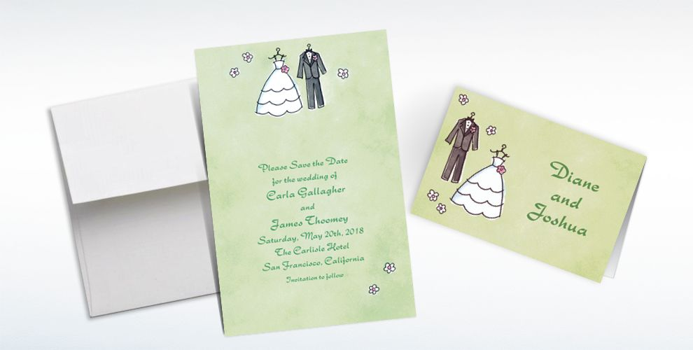 Custom Bride and Groom Outfits Bridal Shower Invitations and Thank You Notes
