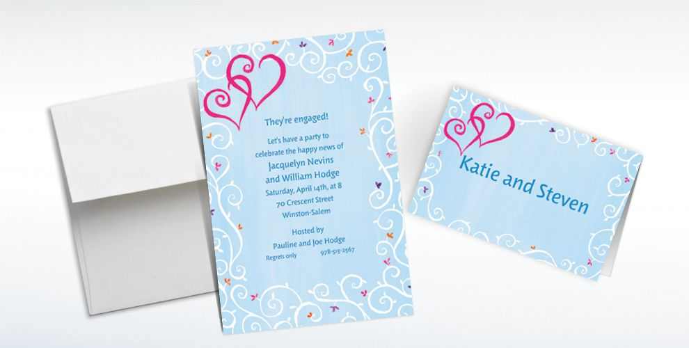 Custom Hearts with Vines and Buds Wedding Invitations and Thank You Notes