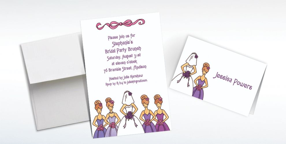 Custom Cute Bride and Bridesmaids Wedding Invitations and Thank You Notes