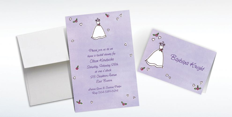 Custom Sweet Bride's Dress Wedding Invitations and Thank You Notes