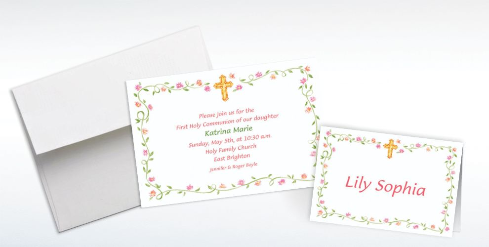 Custom Sweet Cross and Buds Invitations and Thank You Notes