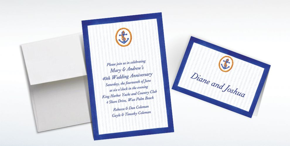 Custom Anchor and Stripes Invitations and Thank You Notes