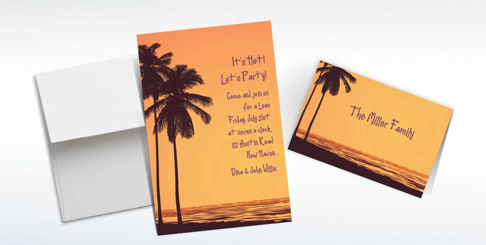 Custom Postcard Sunset Luau Invitations and Thank You Notes