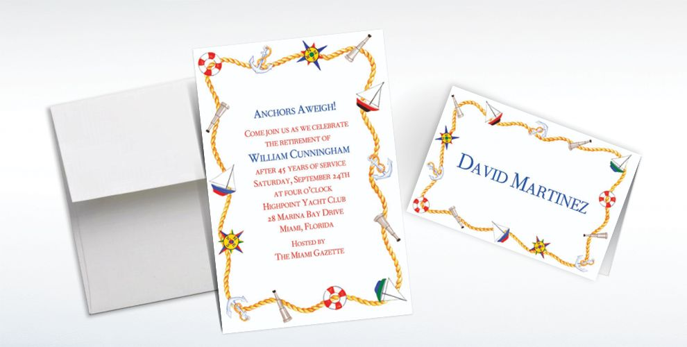 Custom Nautical Doodads Invitations and Thank You Notes
